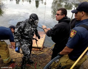 Sgt. David Mascarenas emerges from one of the strangest and most dangerous evidence retrievals in the history of police diving — the search for a modern-day murder weapon in a prehistoric graveyard known as the La Brea Tar Pits.